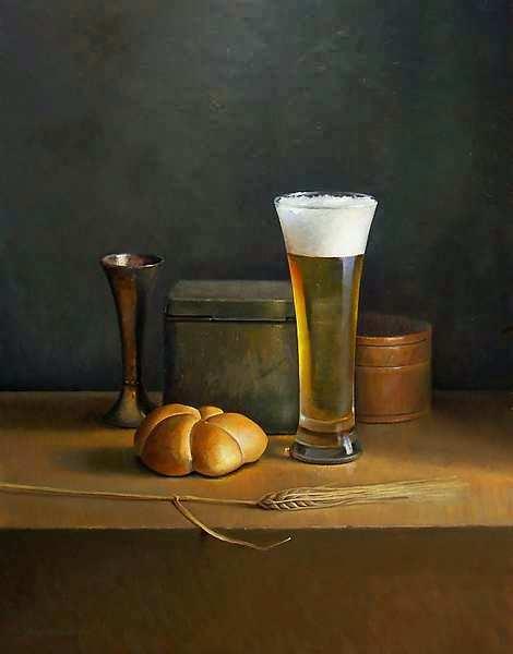Painting: Stilleven met bier en gerst