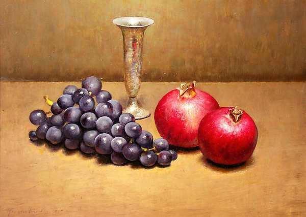 Painting: Stilleven met druiven