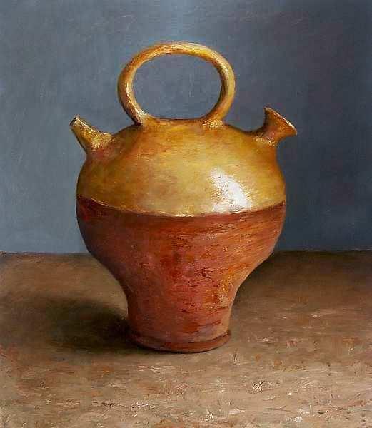 Painting: Stilleven met lamp uit de antieke oudheid