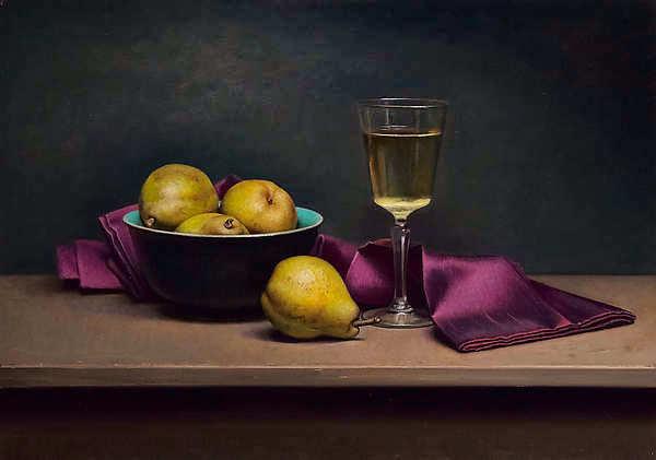 Painting: Stilleven met paars doekje en wijnglas