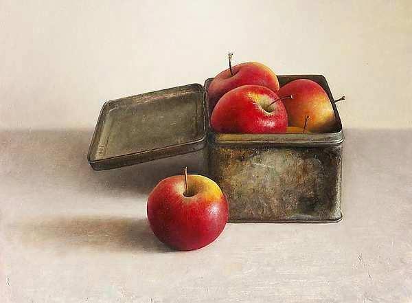 Painting: Stilleven appelen in blikken doos