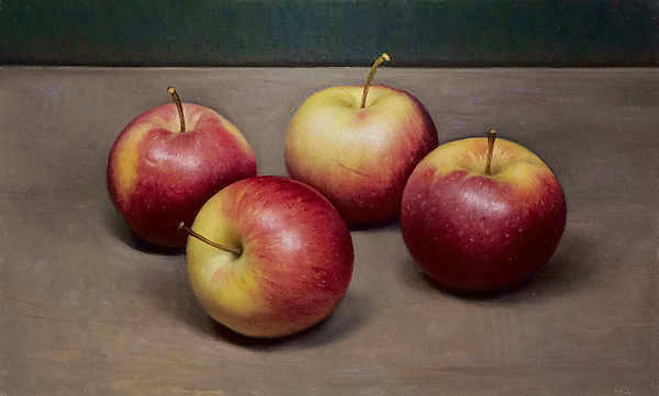 Painting: Stilleven met vier appels
