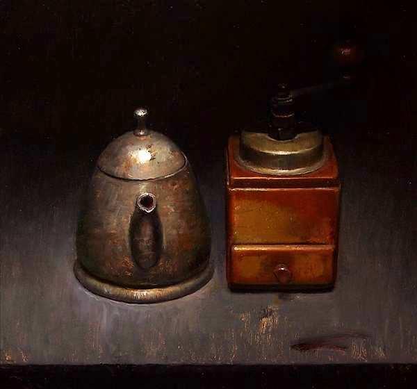 Painting: Stilleven met koffiemolen