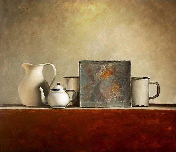 Painting: Stilleven met wit kannetje