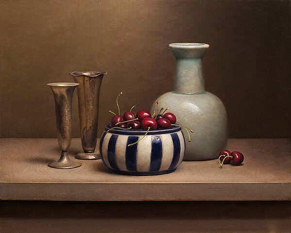 Painting: Realistisch Stilleven met kersen en vaasjes