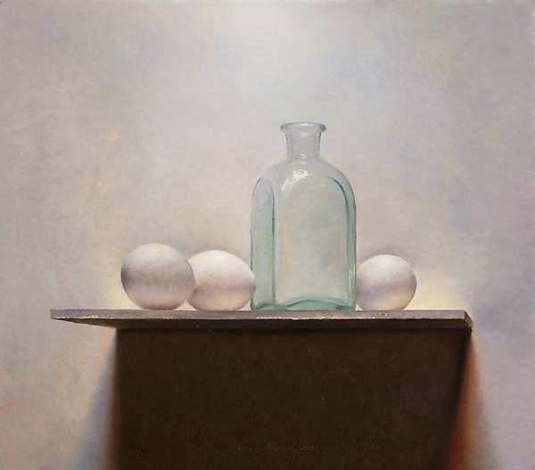 Painting: Eieren met fles