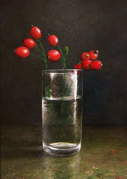 Painting: Stilleven met rozebottels