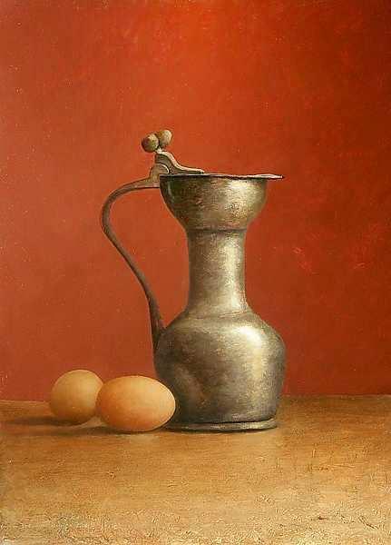 Painting: Stilleven met tin en ei