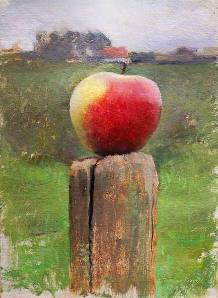 Painting: Appel stilleven en Plein-Air