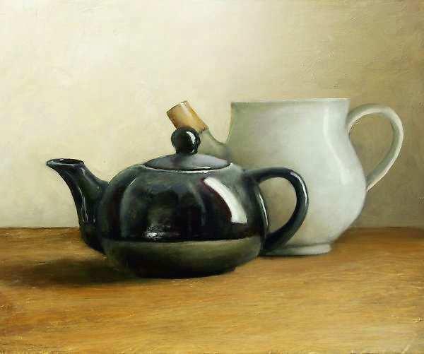 Painting: Stilleven met witte en zwarte theepot