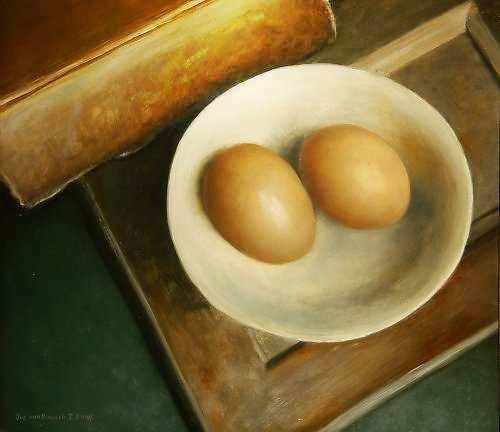 Painting: Boek & 2 eieren