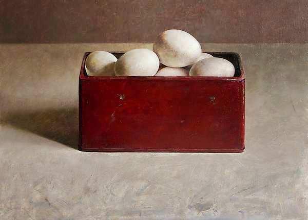 Painting: Stilleven met eieren in rode doos