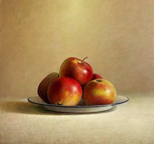 Painting: Stilleven met appels op bord