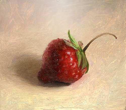 Painting: Stilleven met aardbei