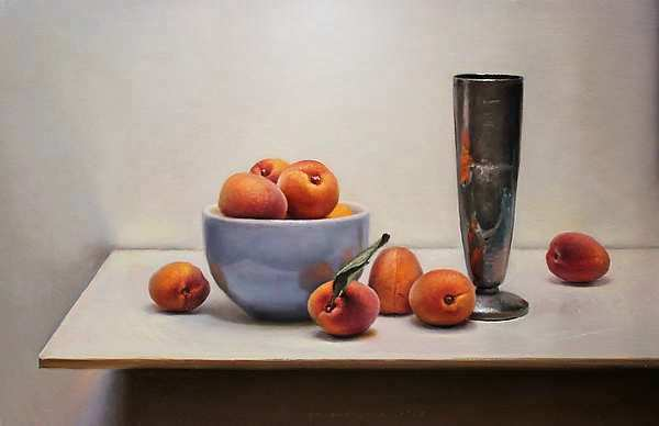 Painting: Stilleven met abrikozen