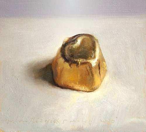 Painting: Stilleven met bonbon in goudfolie