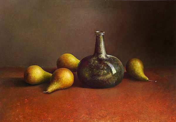 Painting: Stilleven met 17e eeuwse fles