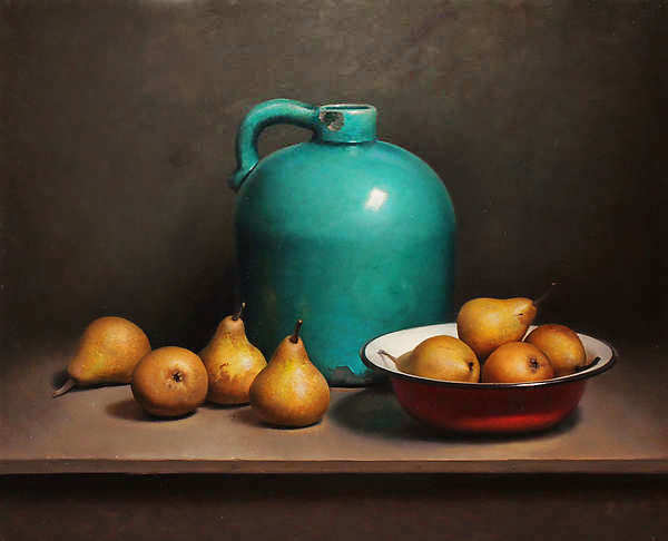 Painting: Realistisch Stilleven met peren en groene fles. (Prive collectie, Arnhem)