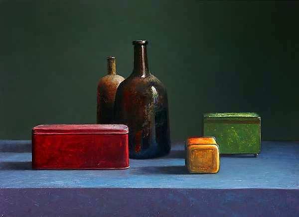 Painting: Stilleven met flessen en blikken doosjes