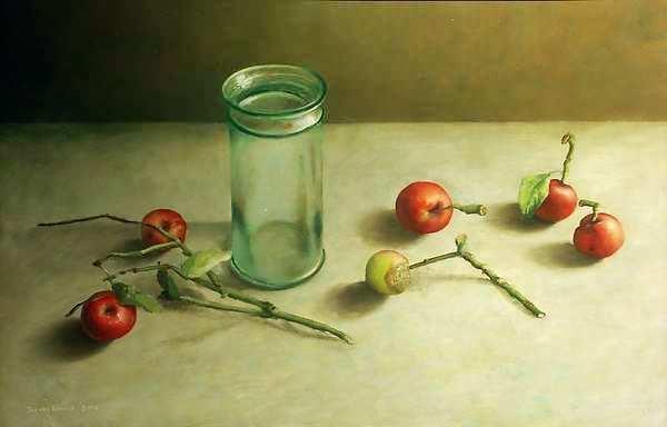 Painting: Glazen vaas met appels