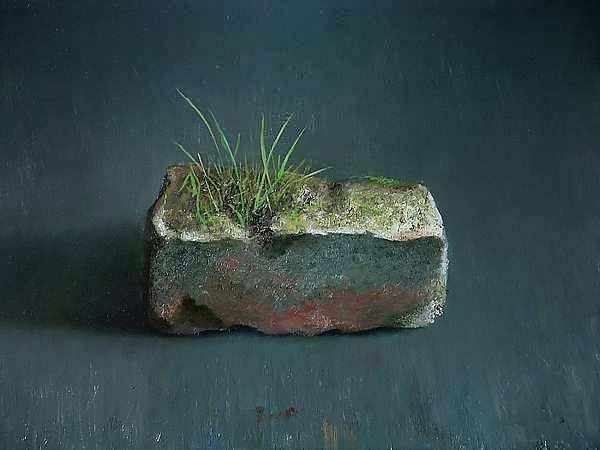 Painting: Stilleven met baksteenflora