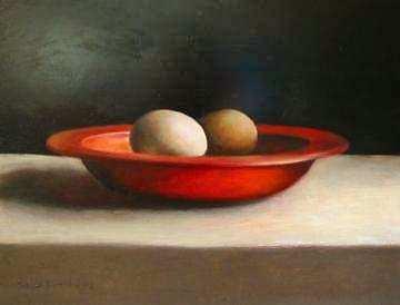 Painting: Schaaltje met eieren