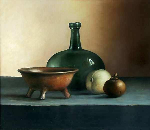 Painting: Stilleven met fles en aardewerk