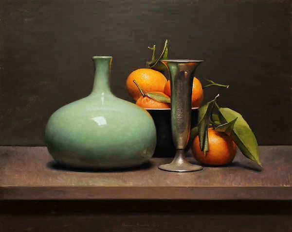 Painting: Stilleven met mandarijnen en groene vaas