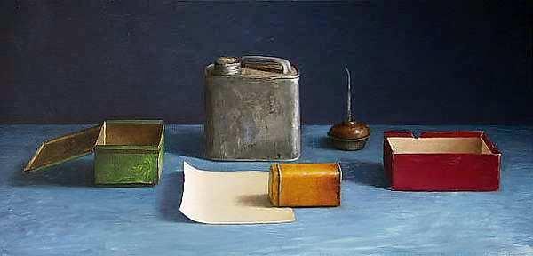 Painting: Stilleven met gekruld papiertje