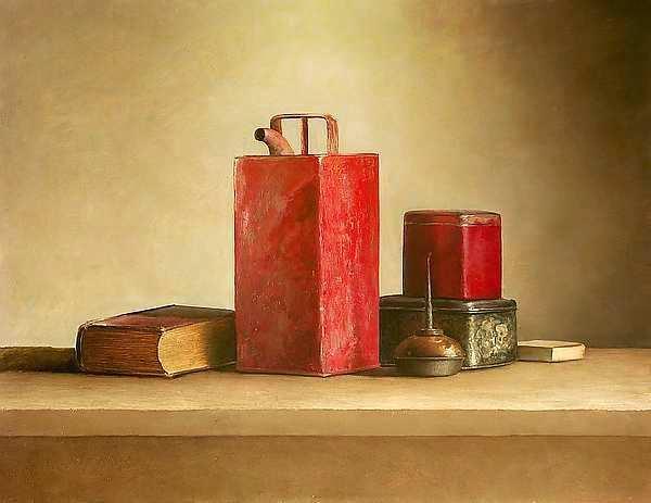 Painting: Stilleven met rode oliebus