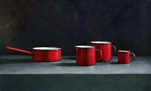 Painting: Stilleven met rood emaille
