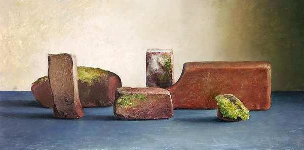 Painting: Stilleven bakstenen uit de oude veldoven te Nijmegen