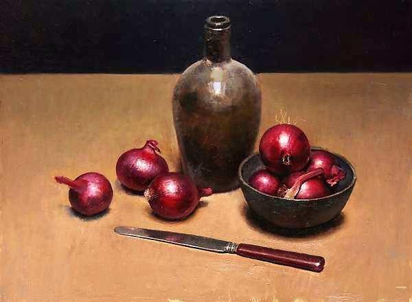 Painting: Stilleven met rode uien
