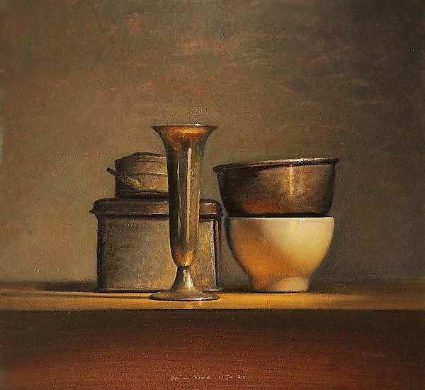 Painting: Stilleven met oliekannetje